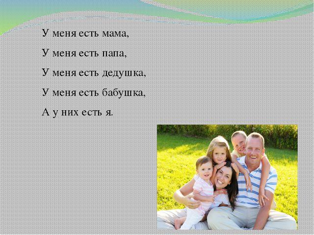У меня есть мама, У меня есть папа, У меня есть дедушка, У меня есть бабушка,...