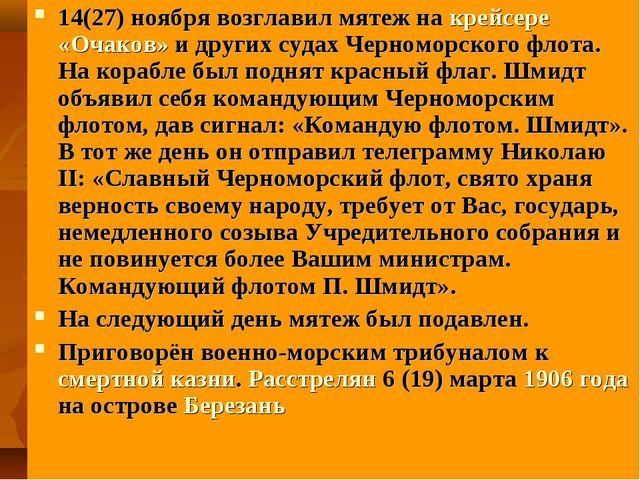 14(27) ноября возглавил мятеж на крейсере «Очаков» и других судах Черноморск...