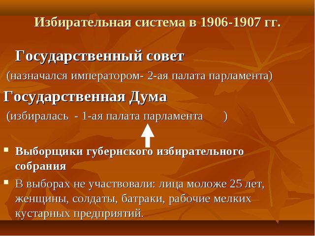 Избирательная система в 1906-1907 гг.   Государственный совет (назначалс...