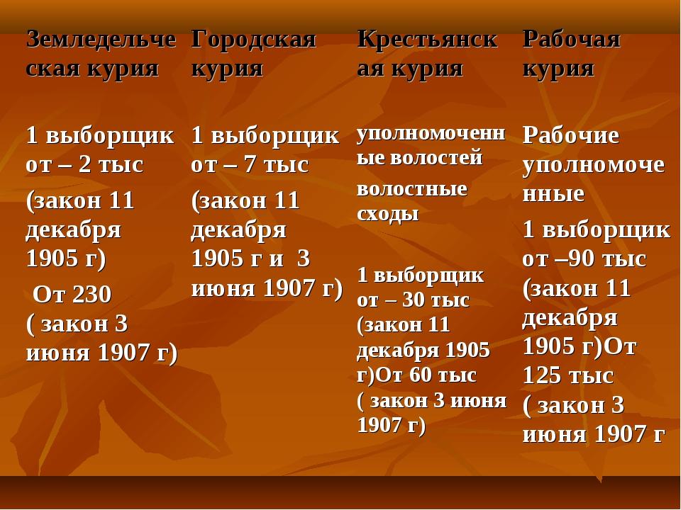 Земледельческая курияГородская курия Крестьянская курия Рабочая курия 1 вы...