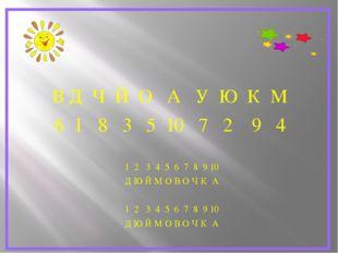 В Д Ч Й О А У Ю К М 6 1 8 3 5 10 7 2 9 4 1 2 3 4 5 6 7 8 9 10 Д Ю Й М О В О