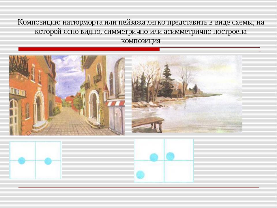 Композицию натюрморта или пейзажа легко представить в виде схемы, на которой...