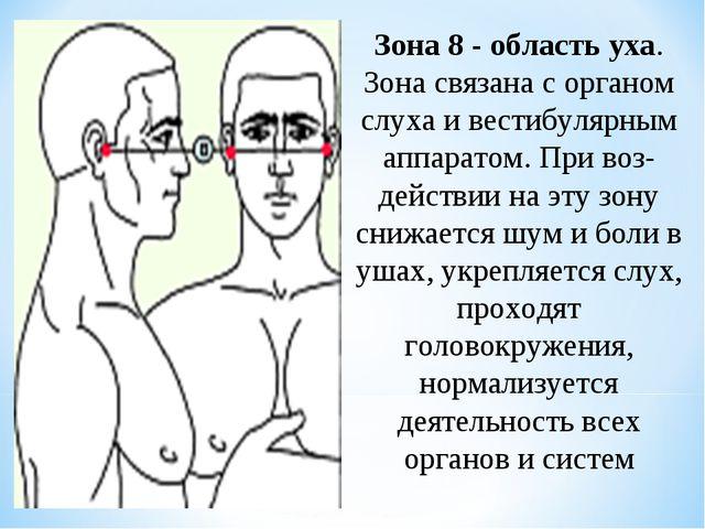 Зона 8 - область уха. Зона связана с органом слуха и вестибулярным аппаратом....
