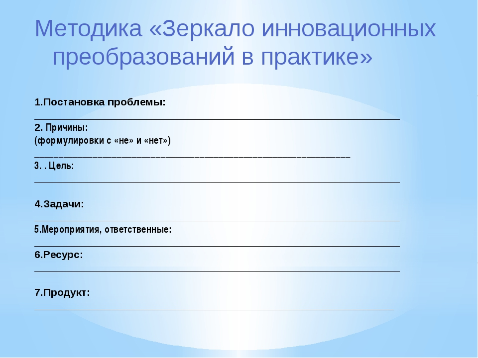 Методика «Зеркало инновационных преобразований в практике» 1.Постановка проб...