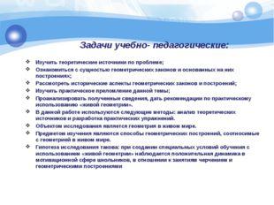 Задачи учебно- педагогические: Изучить теоретические источники по проблеме; О