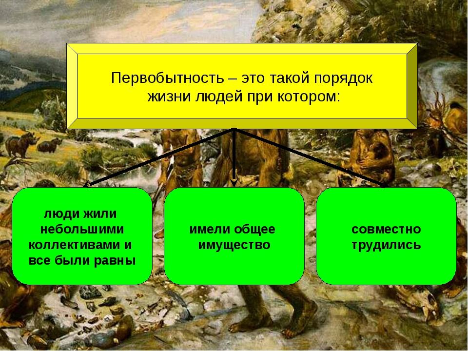 Первобытность – это такой порядок жизни людей при котором: люди жили небольши...