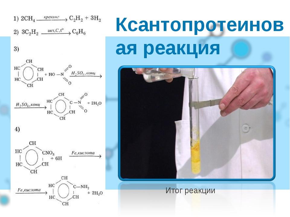 Ксантопротеиновая реакция Итог реакции