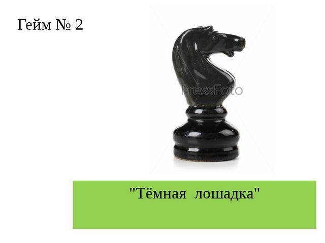 """Гейм № 2 """"Тёмная лошадка"""""""