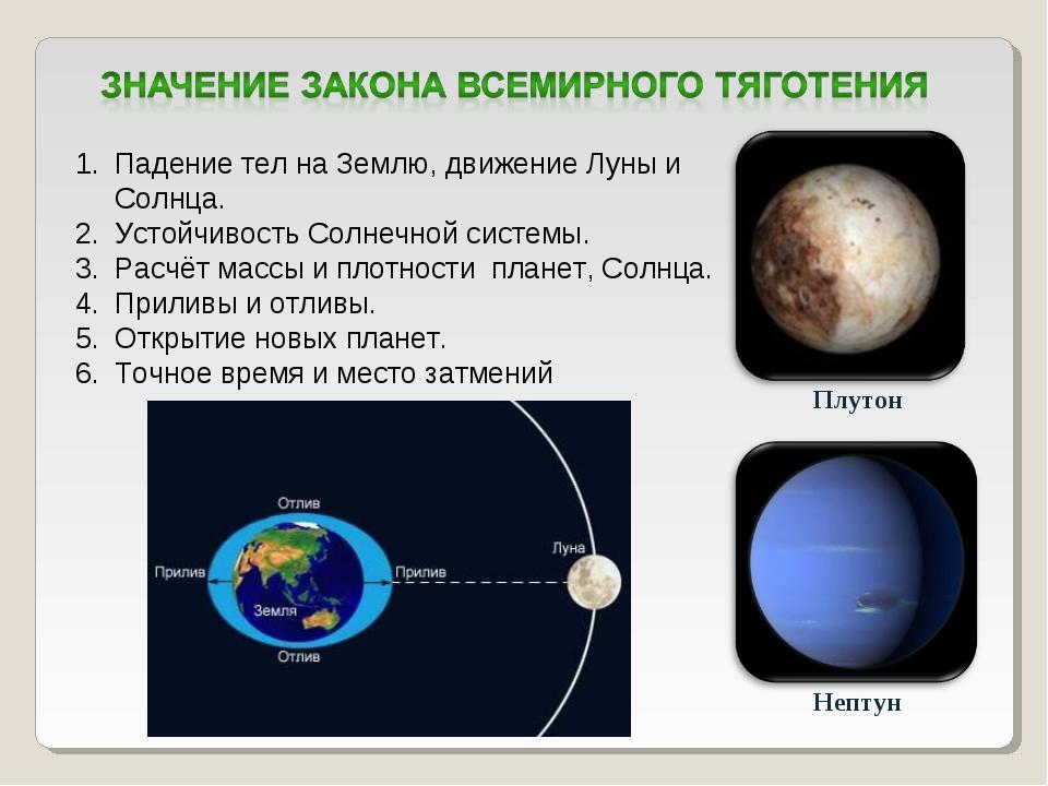 Плутон Нептун Падение тел на Землю, движение Луны и Солнца. Устойчивость Солн...