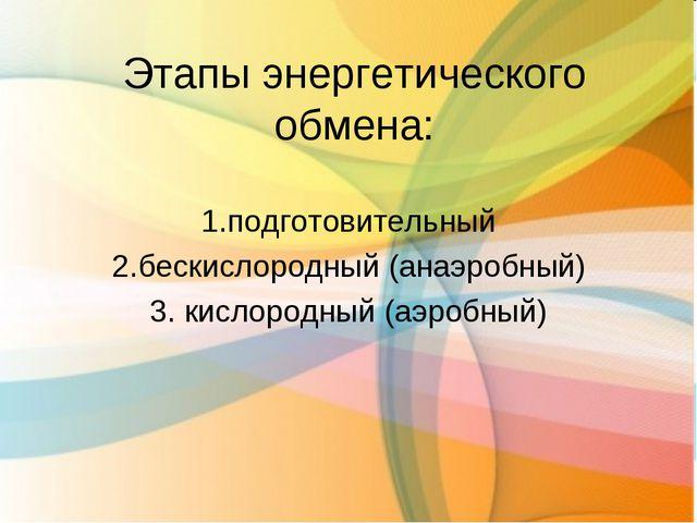 Этапы энергетического обмена: 1.подготовительный 2.бескислородный (анаэробный...