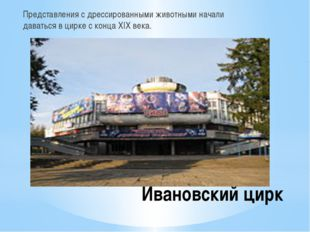 Ивановский цирк Представления с дрессированными животными начали даваться в ц