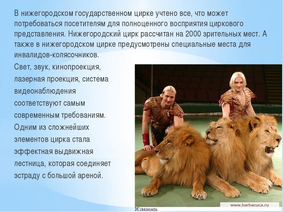 В нижегородском государственном цирке учтено все, что может потребоваться по...