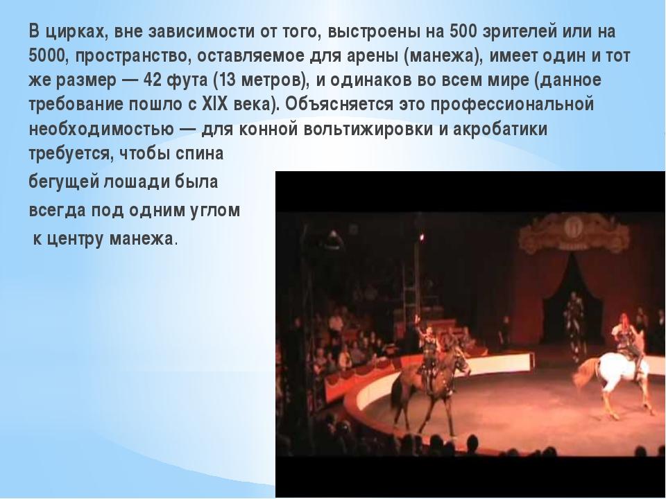 В цирках, вне зависимости от того, выстроены на 500 зрителей или на 5000, пр...