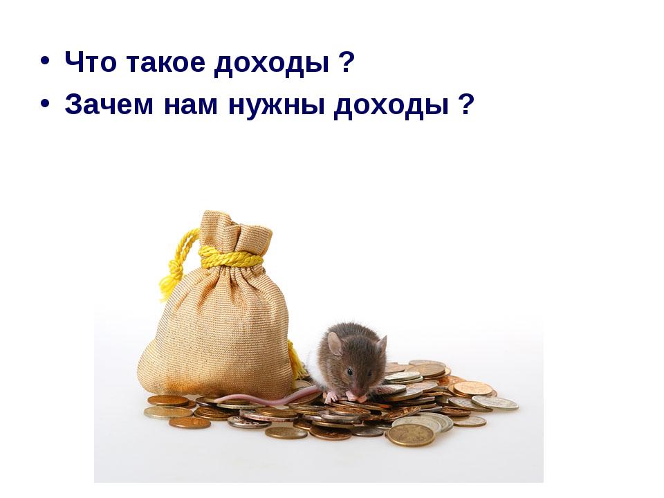 Что такое доходы ? Зачем нам нужны доходы ?