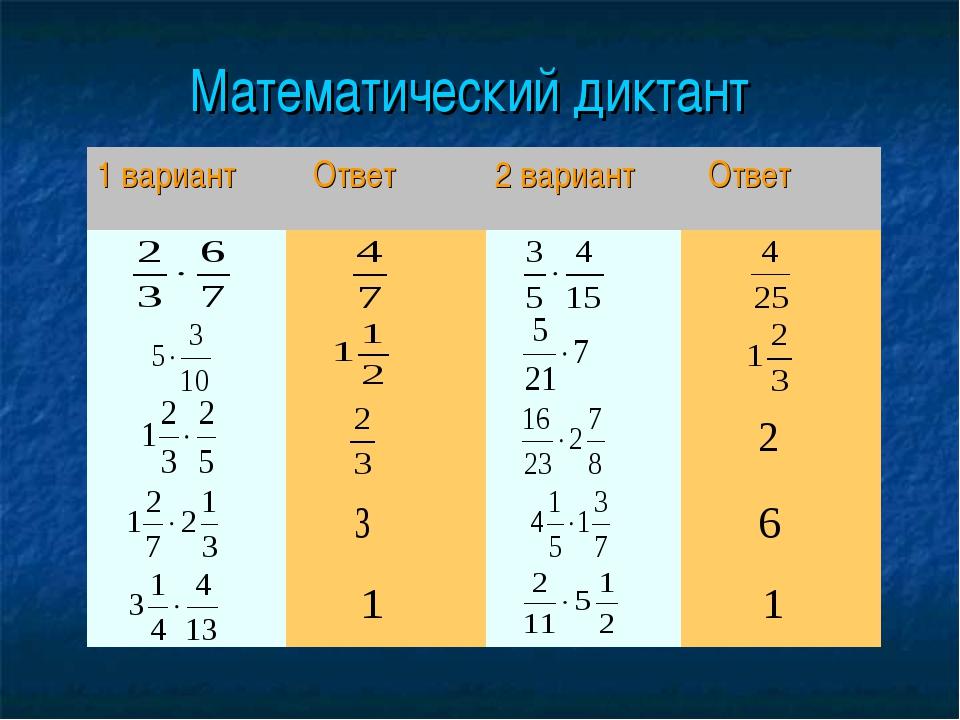 Математический диктант 1 вариант Ответ2 вариант Ответ