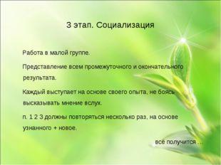 3 этап. Социализация Работа в малой группе. Представление всем промежуточного