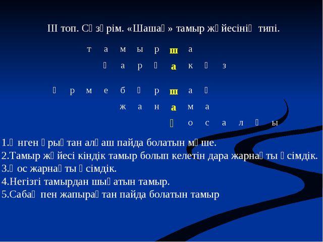 ІІІ топ. Сөзөрім. «Шашақ» тамыр жүйесінің типі. Өнген ұрықтан алғаш пайда бол...