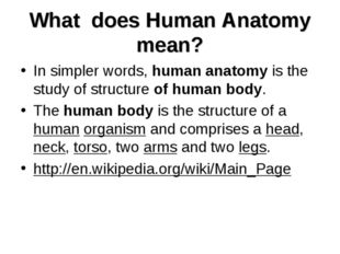 What does Human Anatomy mean? In simpler words, human anatomy is the study of