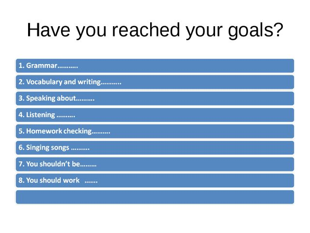 Have you reached your goals?