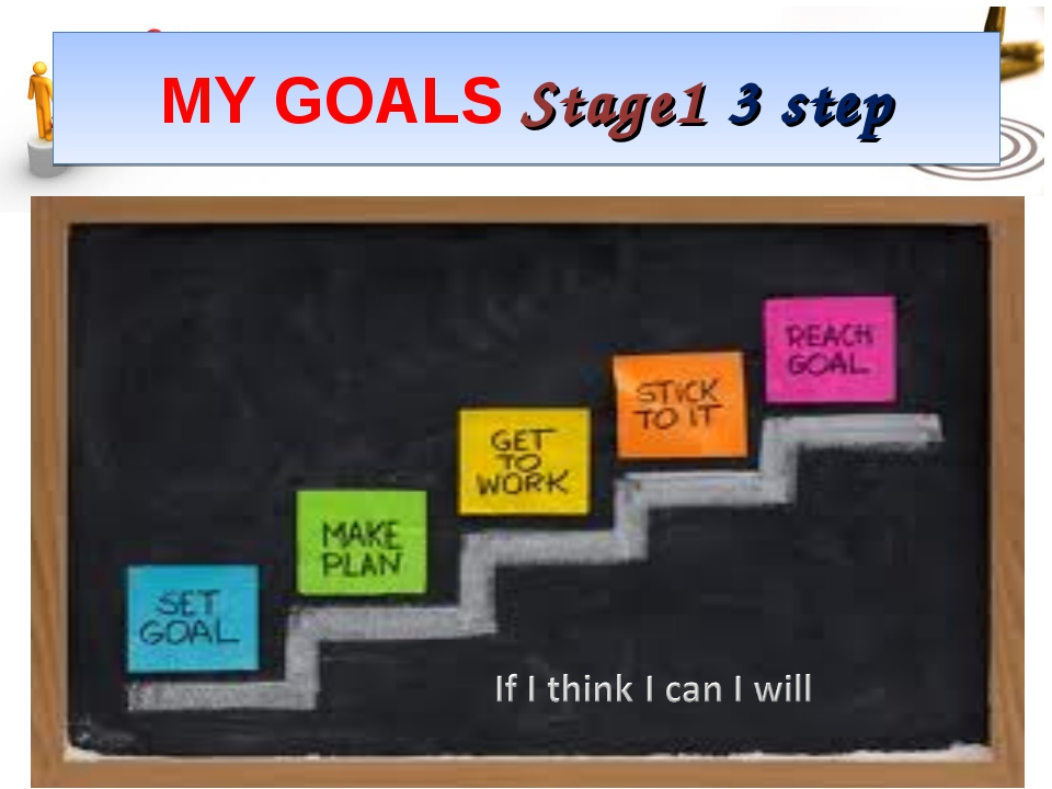 MY GOALS Stage1 3 step Setting goals *