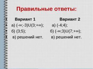 Правильные ответы: Вариант 1 Вариант 2 а) (-∞;-3)U(3;+∞); а) (-4;4); б) (3;5)