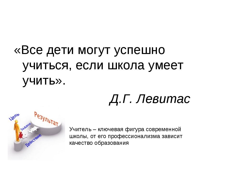 «Все дети могут успешно учиться, если школа умеет учить». Д.Г. Левитас Учител...