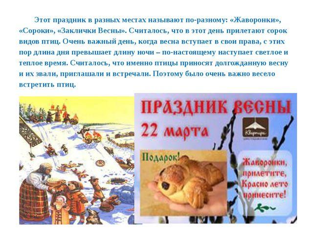 Этот праздник в разных местах называют по-разному: «Жаворонки», «Сороки», «За...
