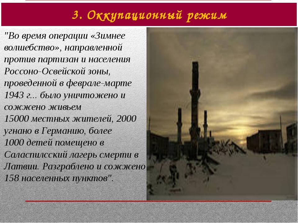 """3. Оккупационный режим """"Во время операции «Зимнее волшебство», направленной п..."""