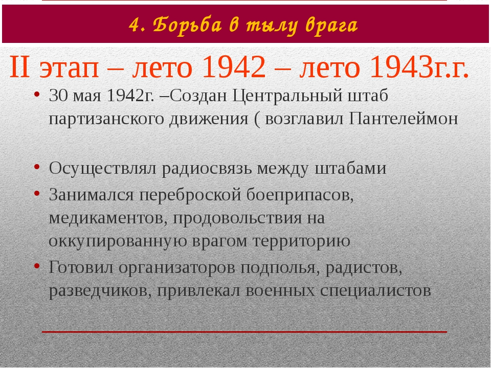 4. Борьба в тылу врага II этап – лето 1942 – лето 1943г.г. 30 мая 1942г. –Соз...