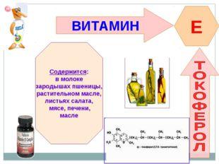 ВИТАМИН E Содержится: в молоке зародышах пшеницы, растительном масле, листьях