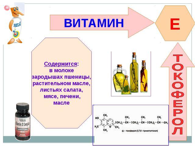 ВИТАМИН E Содержится: в молоке зародышах пшеницы, растительном масле, листьях...
