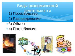 Виды экономической деятельности 1) Производство 2) Распределение 3) Обмен 4)