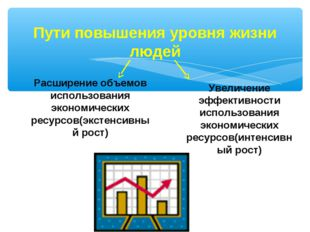 Пути повышения уровня жизни людей Расширение объемов использования экономичес
