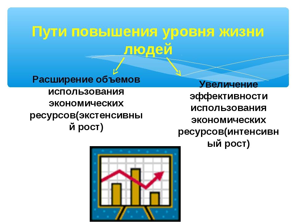 Пути повышения уровня жизни людей Расширение объемов использования экономичес...