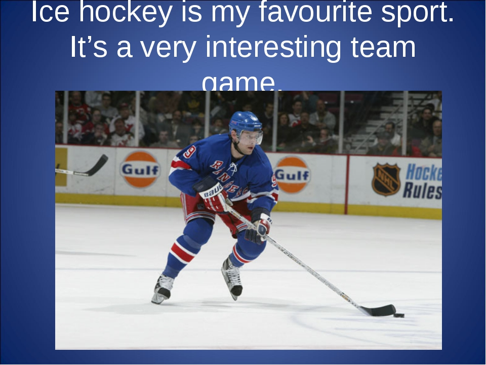 Ice hockey is my favourite sport. It's a very interesting team game.
