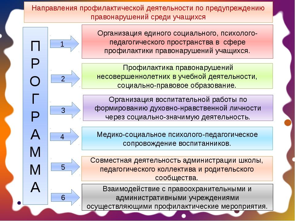 П Р О Г Р А М М А Направления профилактической деятельности по предупреждению...