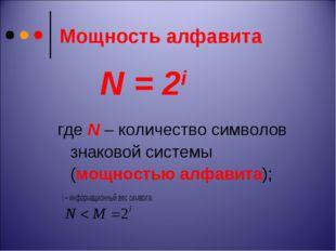 Мощность алфавита где N – количество символов знаковой системы (мощностью алф