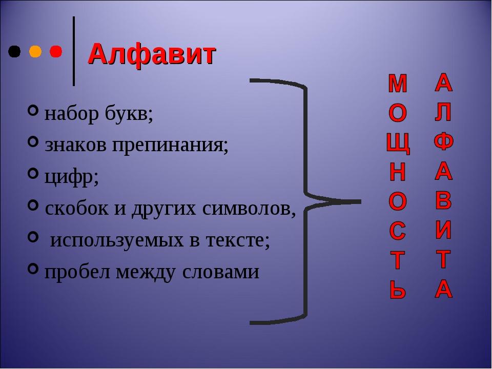 Алфавит набор букв; знаков препинания; цифр; скобок и других символов, исполь...