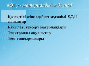 «Оқу - материалдық» бөлімі Қазақ тілі жіне әдебиет мұғалімі 5,7,11 сыныптар