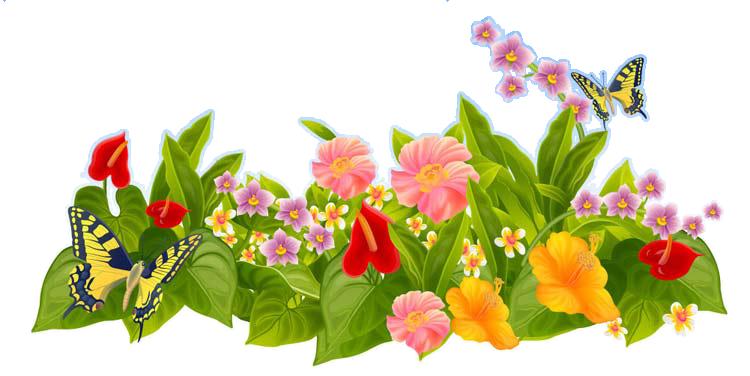 Лужайка, зеленая трава, деревья в траве, цветы, бабочки над цветами, пейзаж на прозрачном фоне - клипарт для коллажей