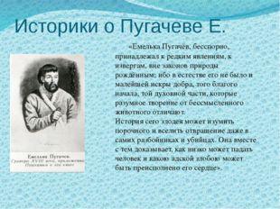Историки о Пугачеве Е. «Емелька Пугачёв, бесспорно, принадлежал к редким явле