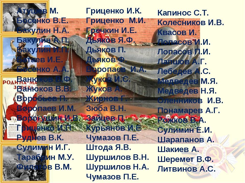 Атушев М. Босенко В.Е. Бакулин Н.А. Бакулин А.П. Бакулин И.П. Батаев И.Е. Бос...