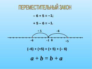 – 6 + 5 = –1 –6 0 + 5 –1; +5 –6 + 5 – 6 = –1. (–6) + (+5) = (+ 5) + (– 6) a +