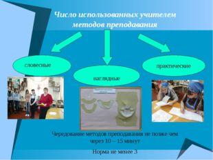 Число использованных учителем методов преподавания практические словесные наг