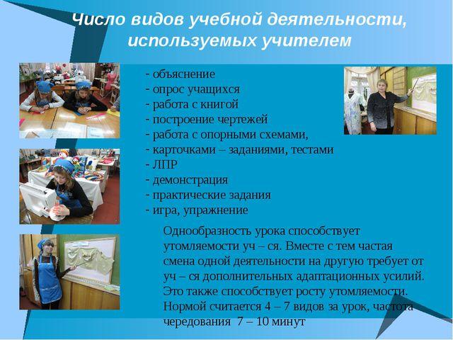 Число видов учебной деятельности, используемых учителем объяснение опрос учащ...