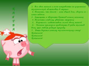 1.Все свои знания и силы направлять на улучшение экологической обстановки