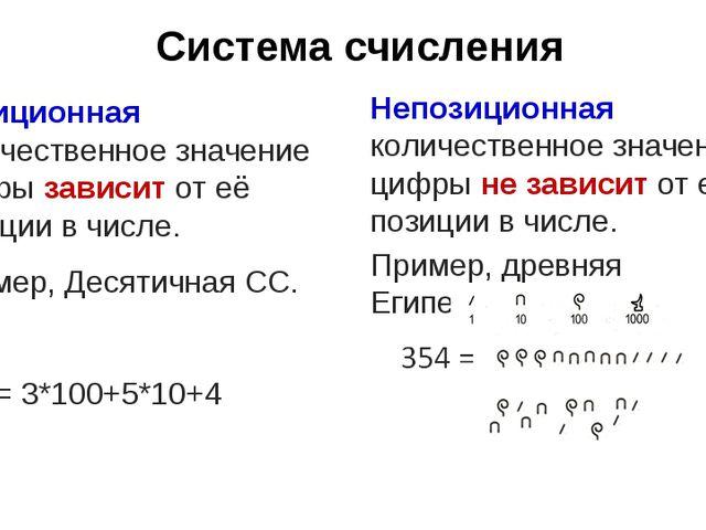 Система счисления Позиционная количественное значение цифры зависит от её поз...