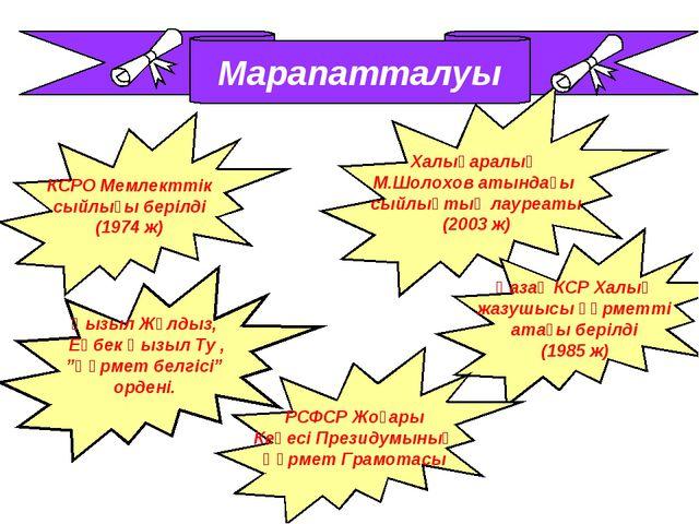Марапатталуы КСРО Мемлекттік сыйлығы берілді (1974 ж) Халықаралық М.Шолохов а...