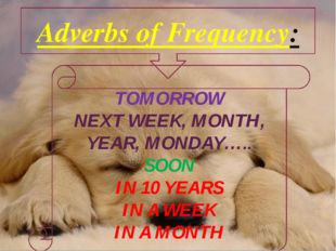 Adverbs of Frequency: TOMORROW NEXT WEEK, MONTH, YEAR, MONDAY….. SOON IN 10 Y