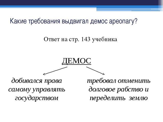 Какие требования выдвигал демос ареопагу? Ответ на стр. 143 учебника